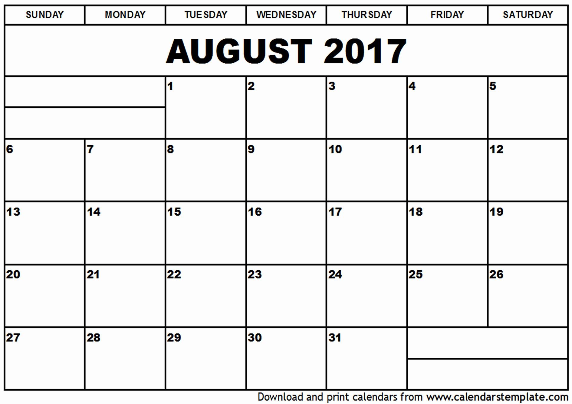 Blank Calendar Template August 2017 Inspirational August 2017 Calendar Template