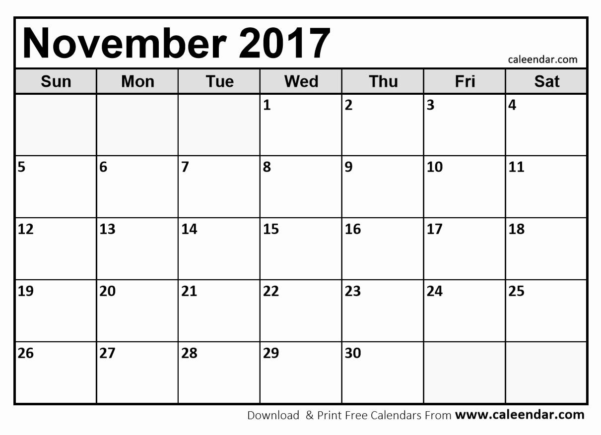 Blank Calendar Template August 2017 Lovely 2017 November Calendar Printable Blank – Printable