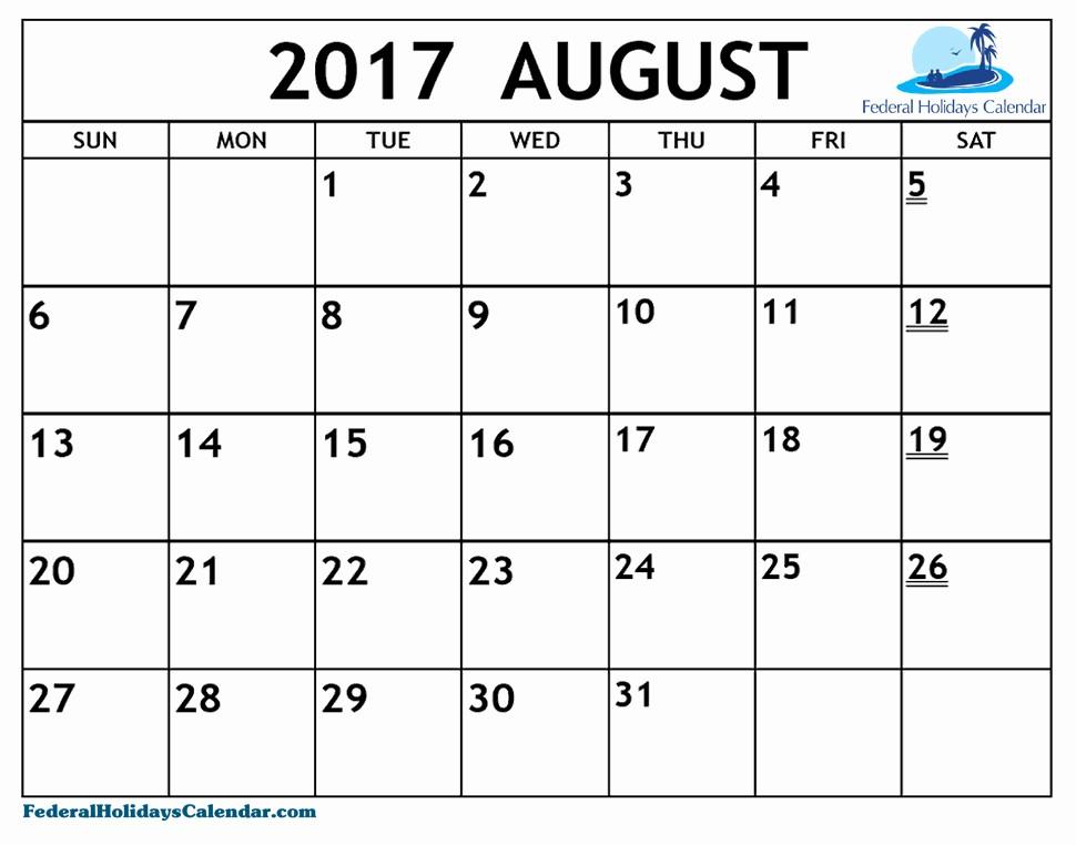 Blank Calendar Template August 2017 Lovely August 2017 Calendar Canada