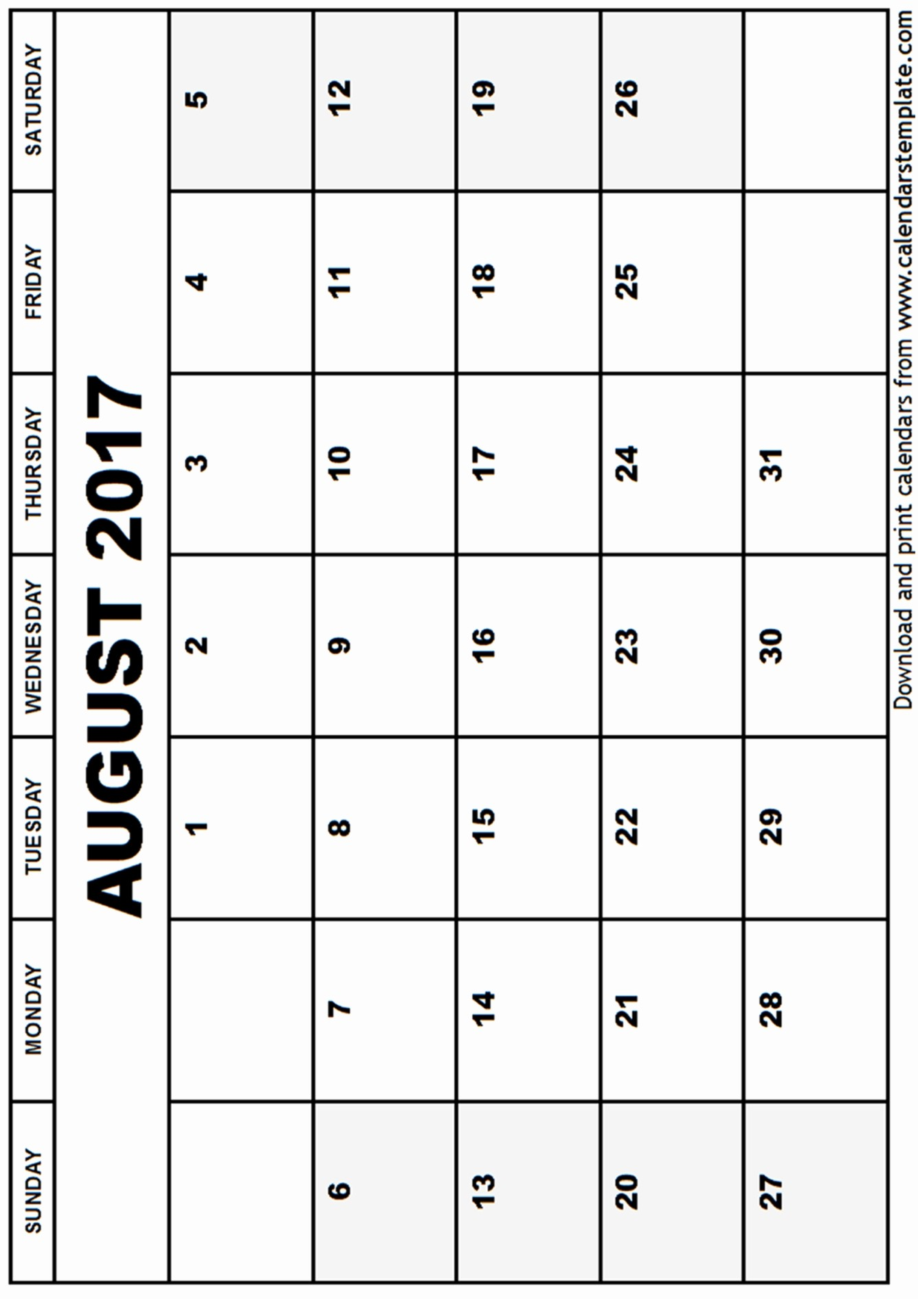 Blank Calendar Template August 2017 Lovely August 2017 Calendar Template