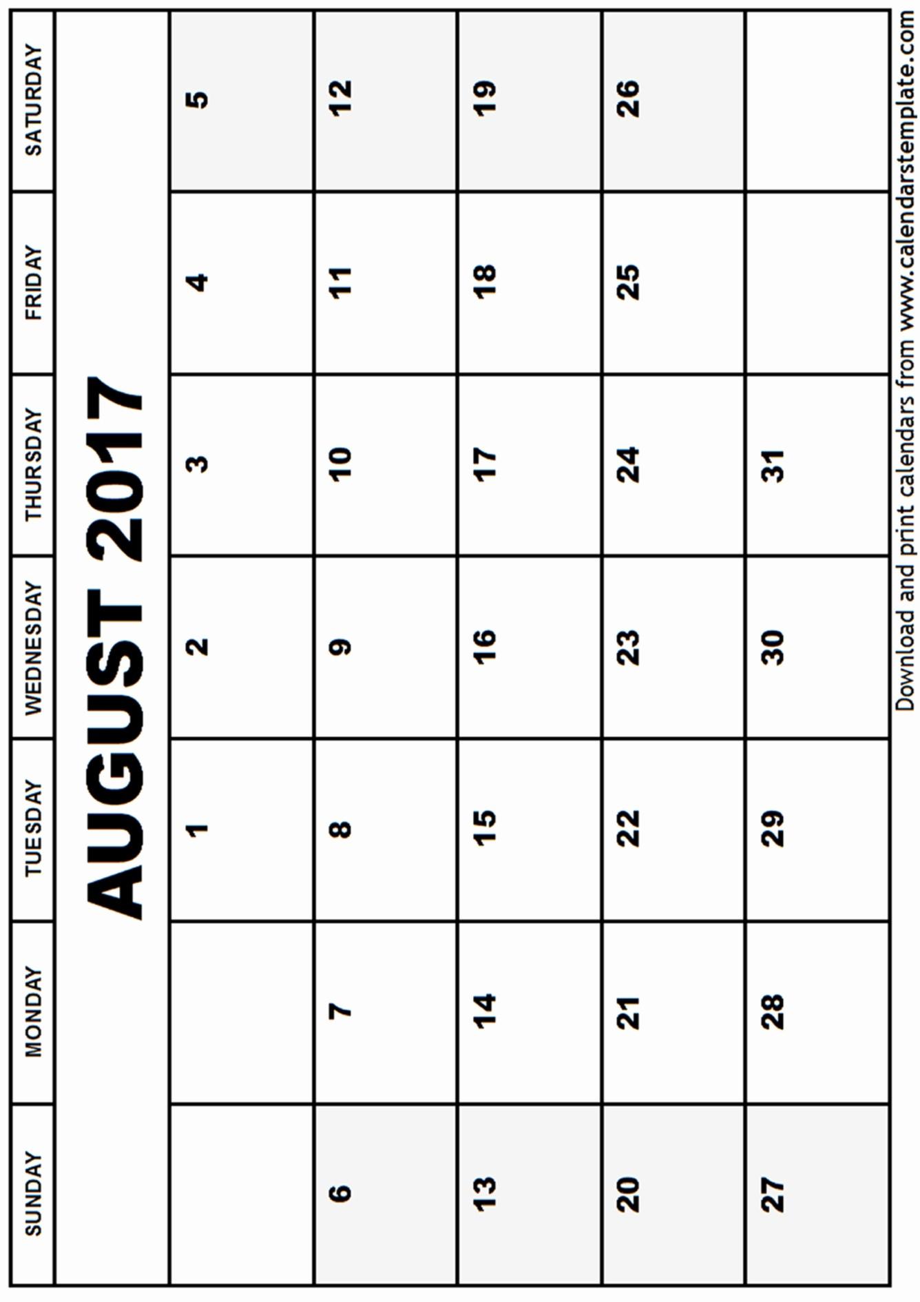 Blank Calendar Template August 2017 Lovely August 2017 Calendar Template