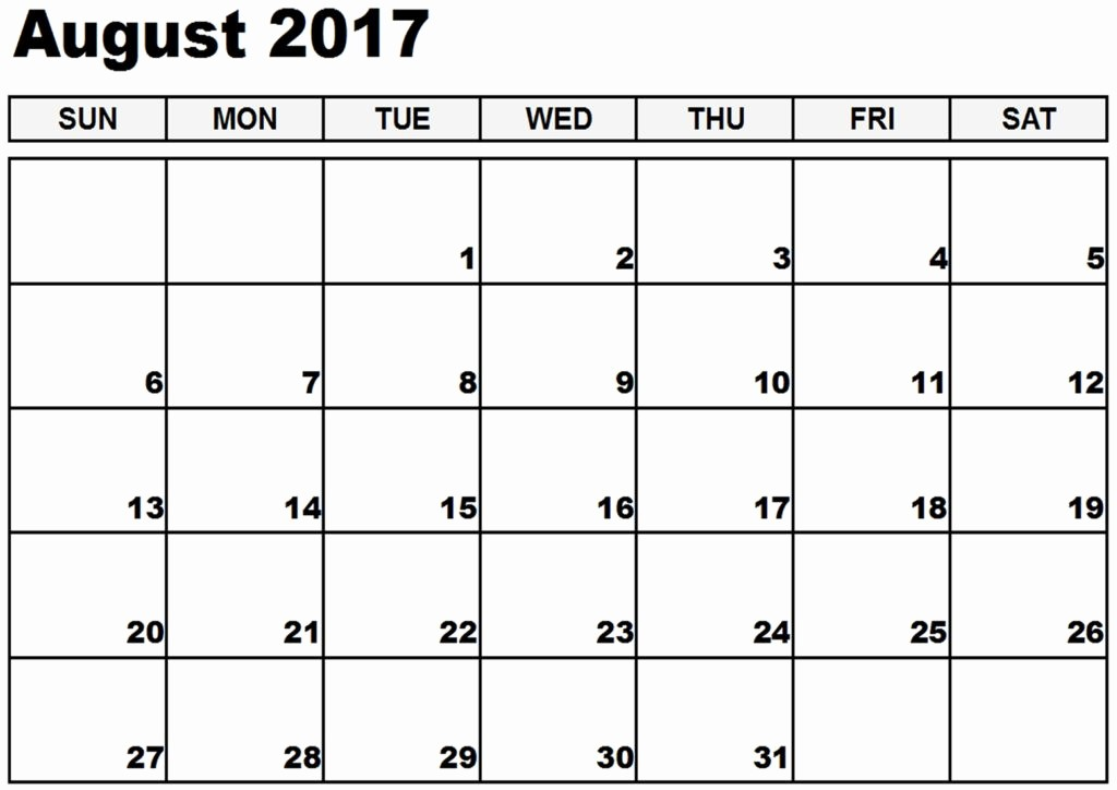 Blank Calendar Template August 2017 Lovely August 2017 Printable Calendar Template Holidays Excel