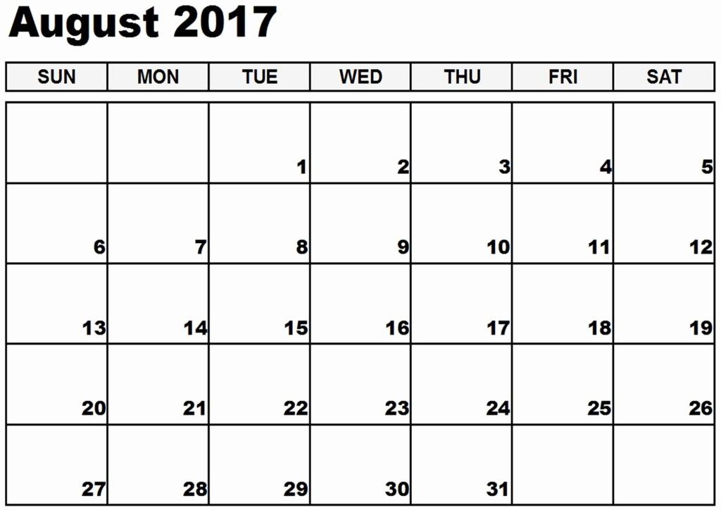 Blank Calendar Template August 2017 Lovely August 2017 Printable Calendar Template Holidays Excel