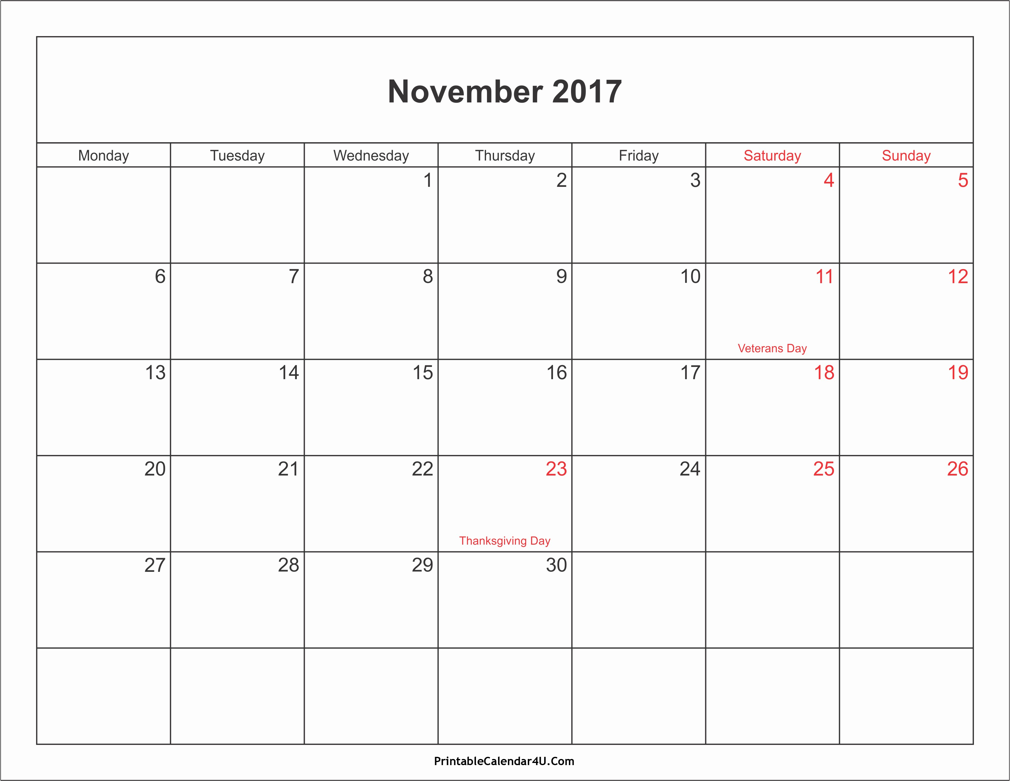 Blank Calendar Template August 2017 Lovely November 2017 Calendar Pdf