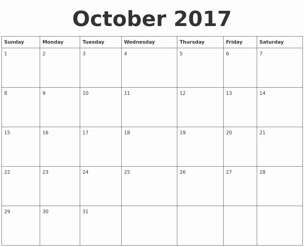 Blank Calendar Template August 2017 Lovely October 2017 Blank Calendar Template
