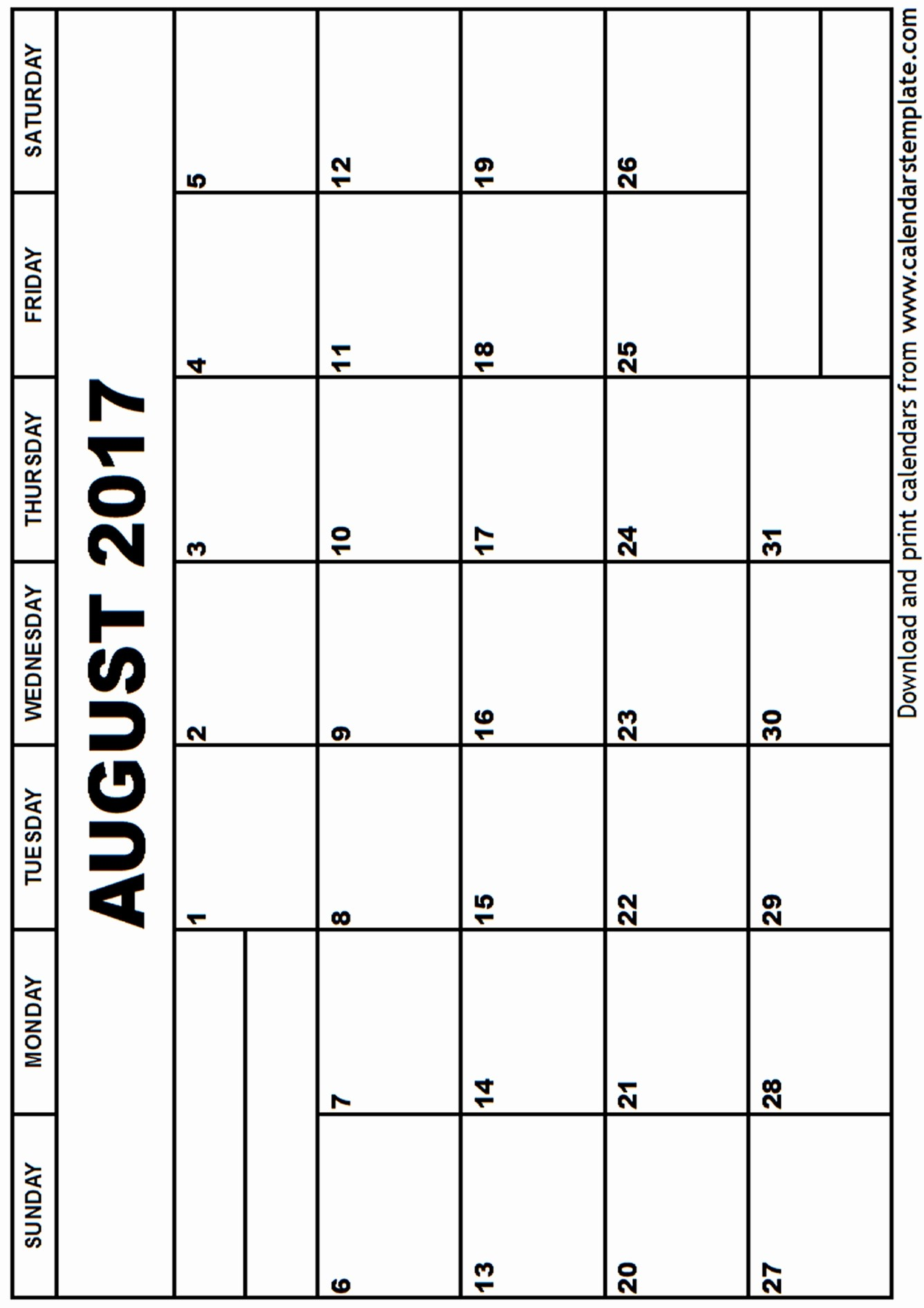 Blank Calendar Template August 2017 Luxury August 2017 Calendar Template