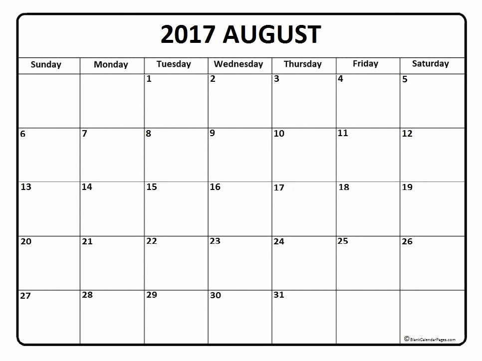 Blank Calendar Template August 2017 New August 2017 Calendar August 2017 Calendar Printable