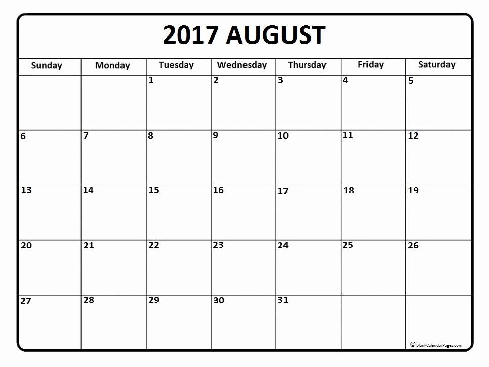 Blank Calendar Template August 2017 New August 2017 Calendar August 2017 Calendar Printable