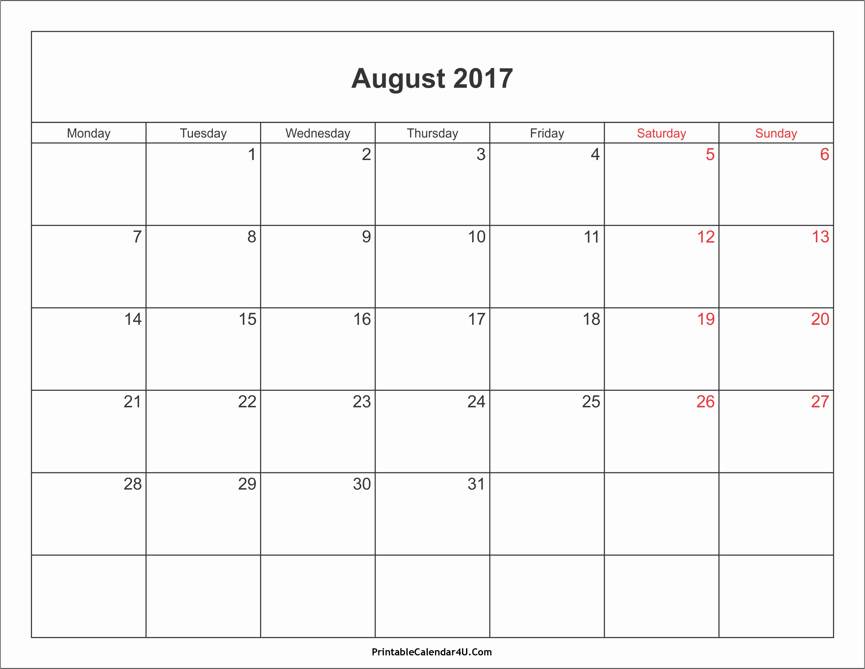 Blank Calendar Template August 2017 New August 2017 Calendar with Holidays