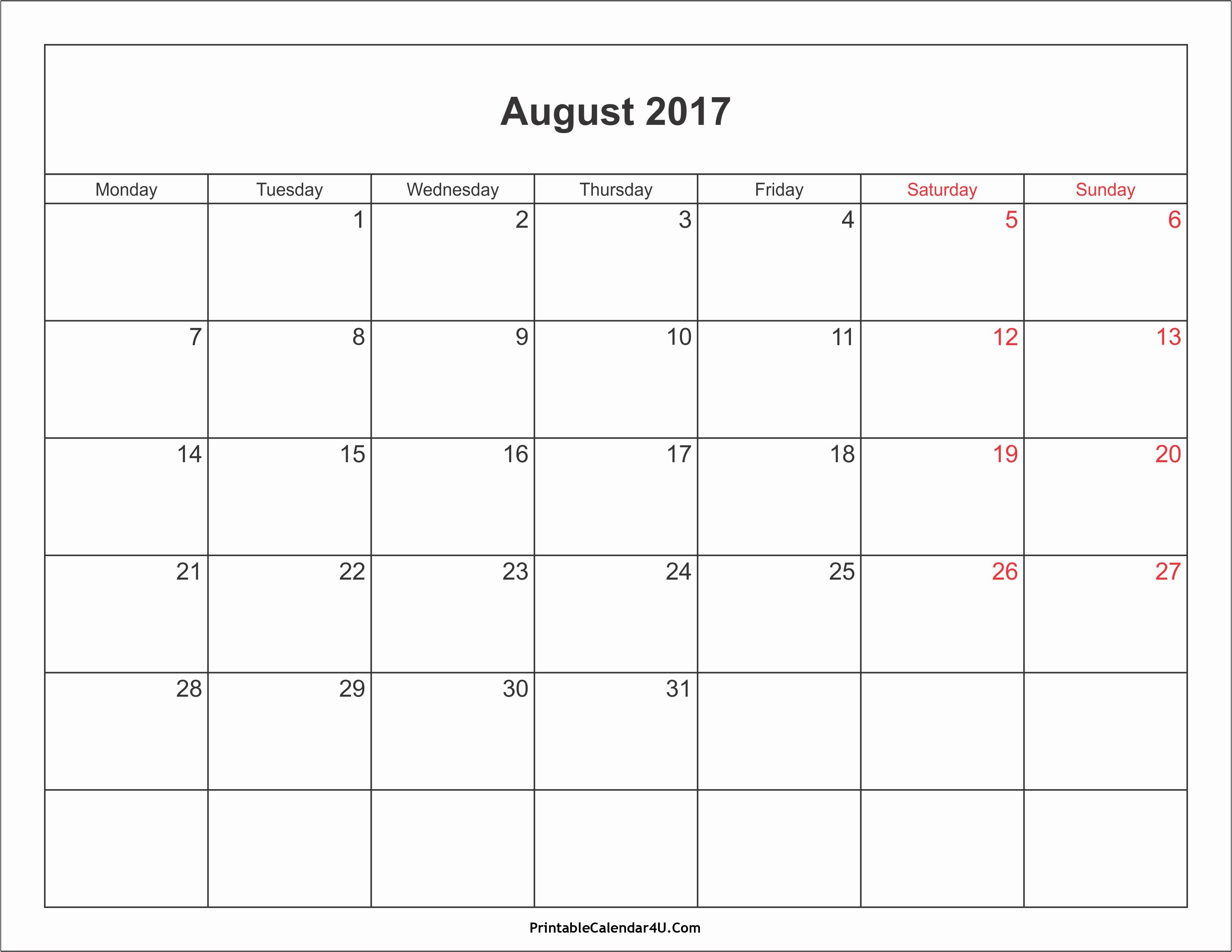 Blank Calendar Template August 2017 New August 2017 Calendar with Holidays