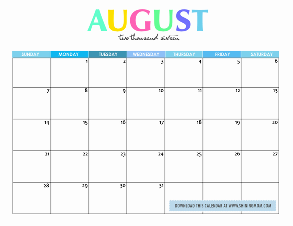 Blank Calendar Template August 2017 New Cute 2017 Calendar