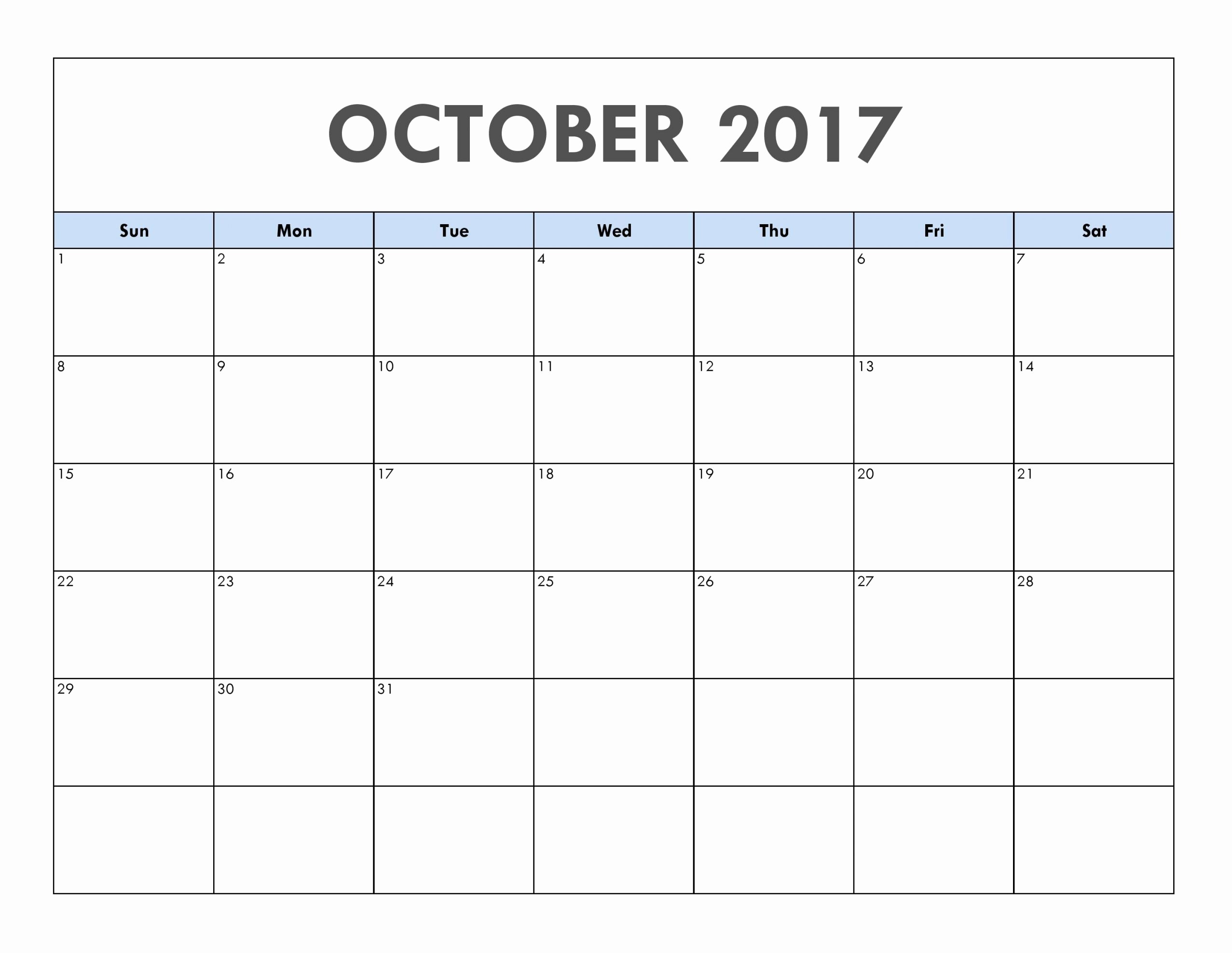 Blank Calendar Template August 2017 New October 2017 Calendar Printable Template
