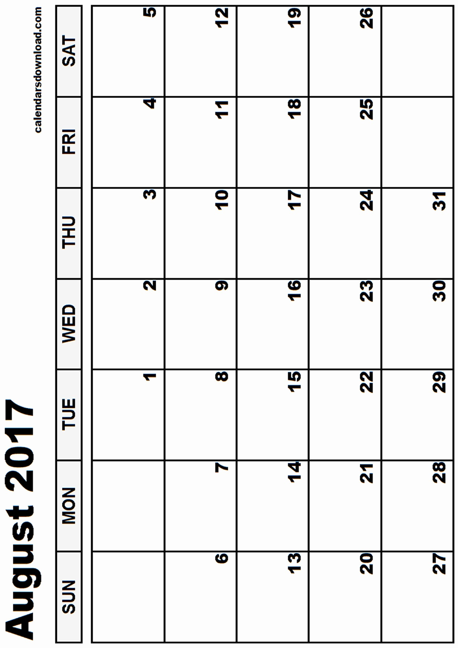 Blank Calendar Template August 2017 Unique August 2017 Calendar