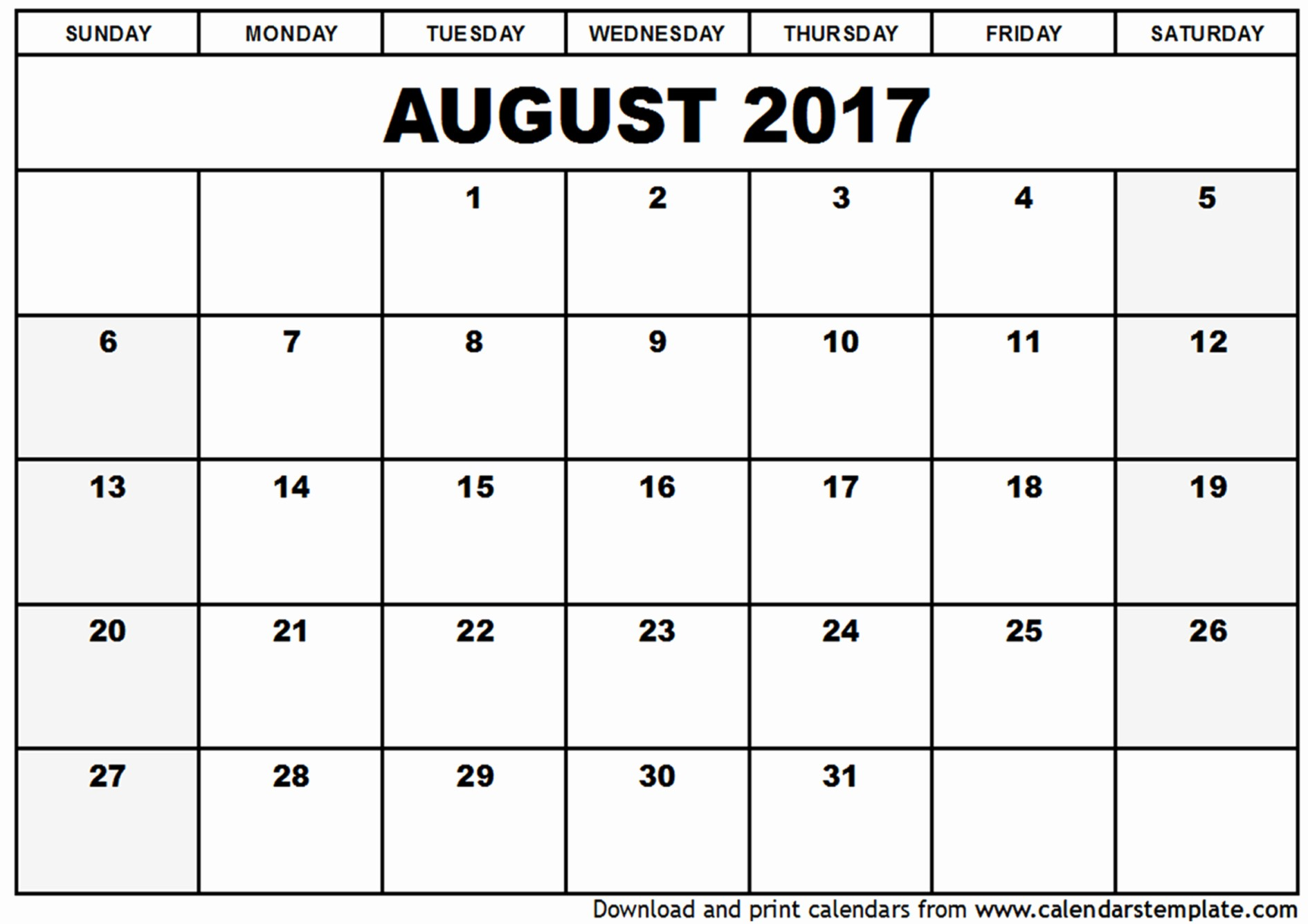 Blank Calendar Template August 2017 Unique August 2017 Calendar Template