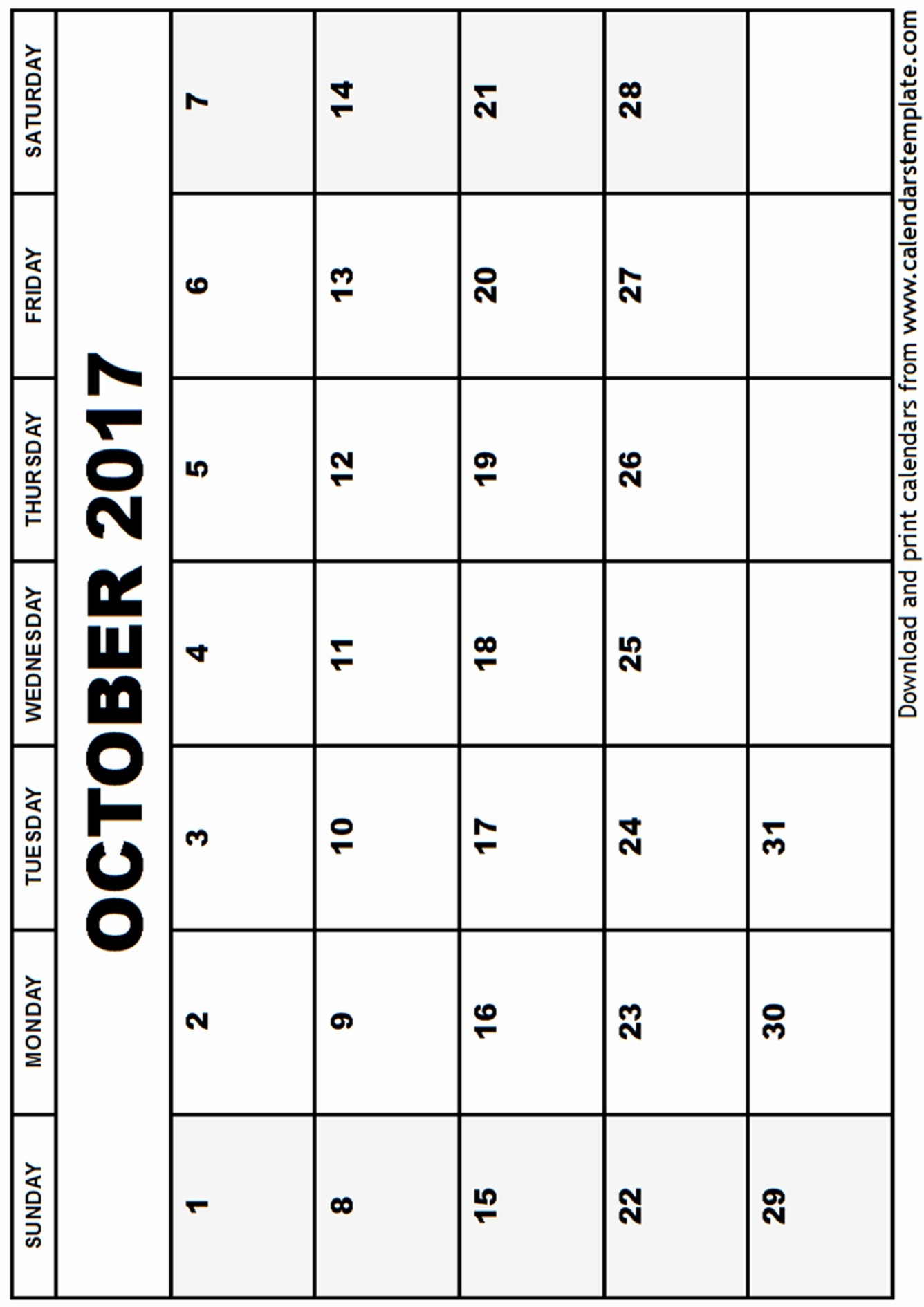 Blank Calendar Template August 2017 Unique October 2017 Calendar Template