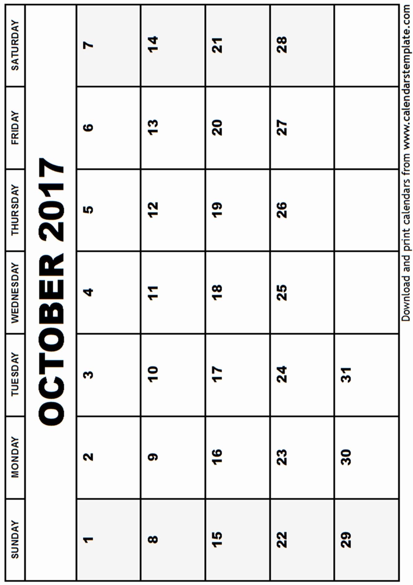 Blank Calendar Template August 2017 Unique October 2017 Calendar Template