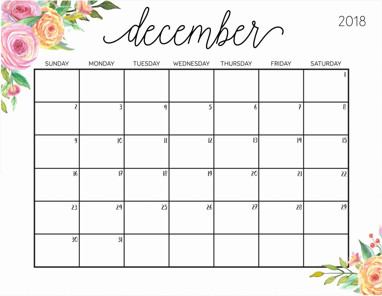 Blank Calendar Template December 2018 Elegant December 2018 Calendar