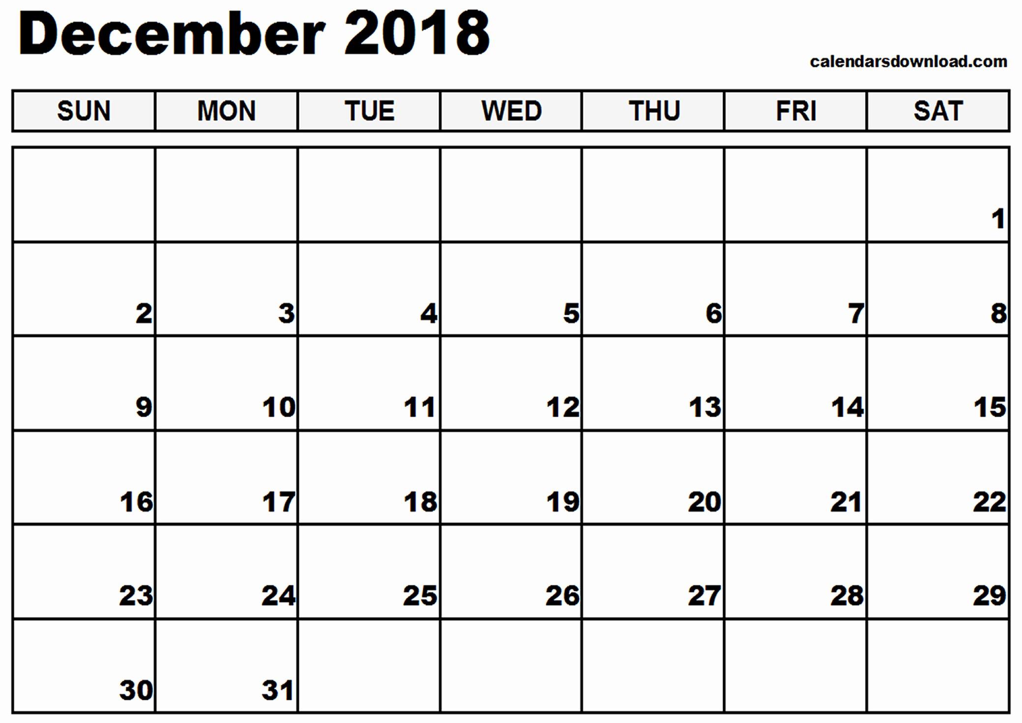 Blank Calendar Template December 2018 Fresh December 2018 Printable Calendar