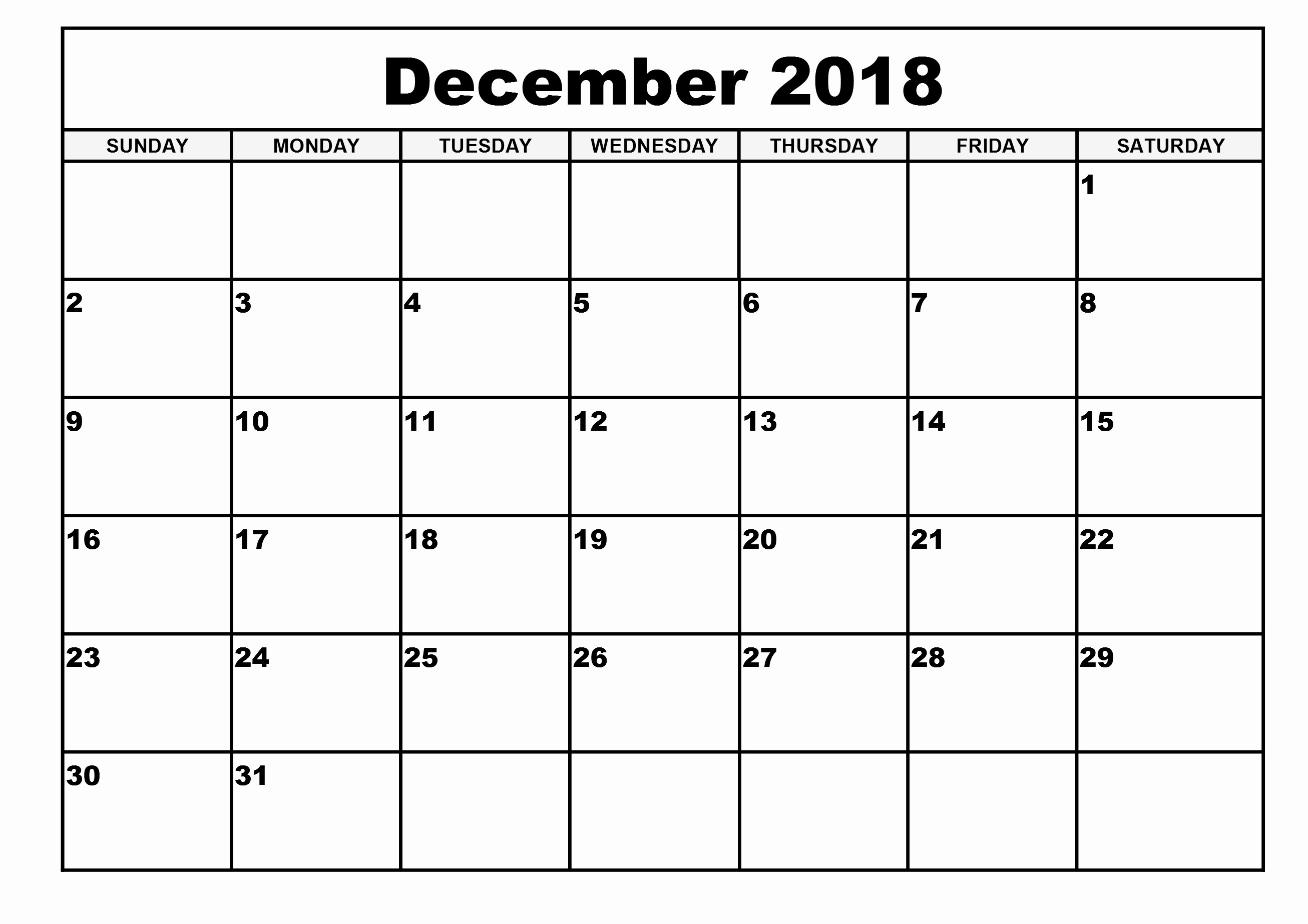 Blank Calendar Template December 2018 Fresh Free Printable Calendar 2018 Template