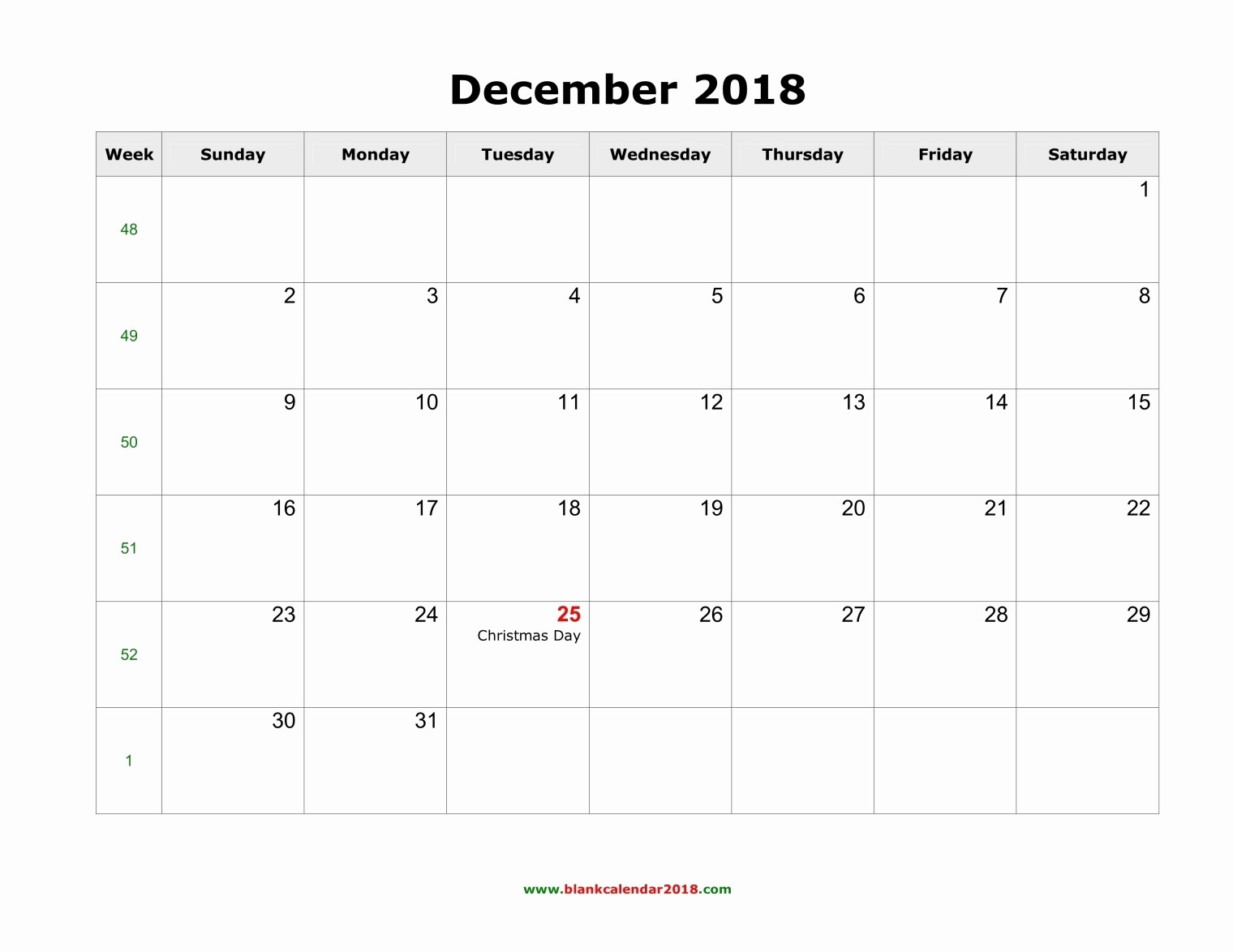 Blank Calendar Template December 2018 Inspirational Blank Calendar for December 2018
