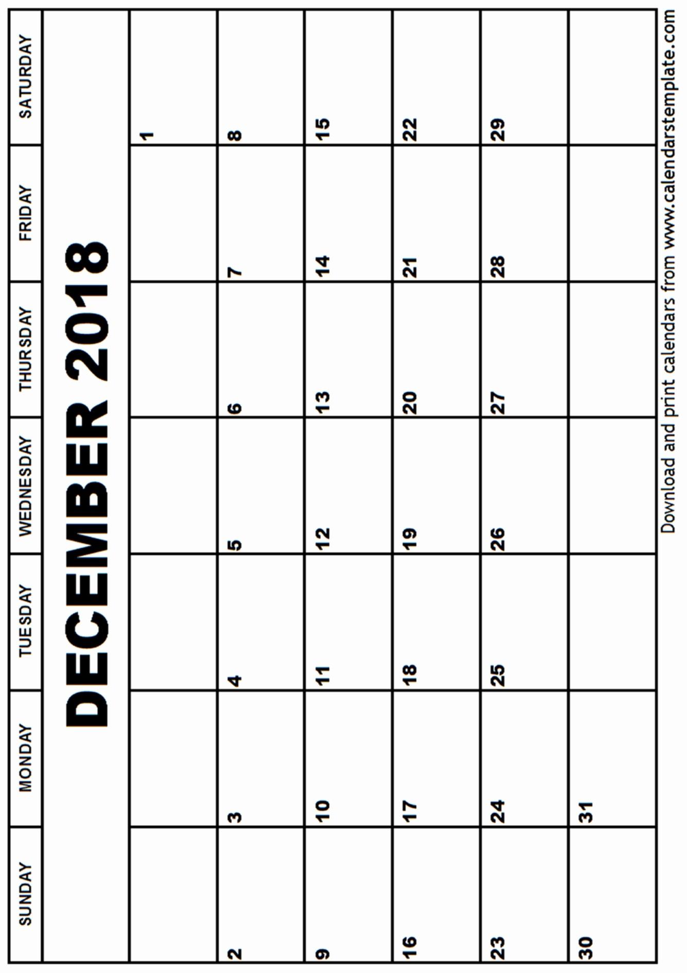 Blank Calendar Template December 2018 Inspirational December 2018 Calendar Template