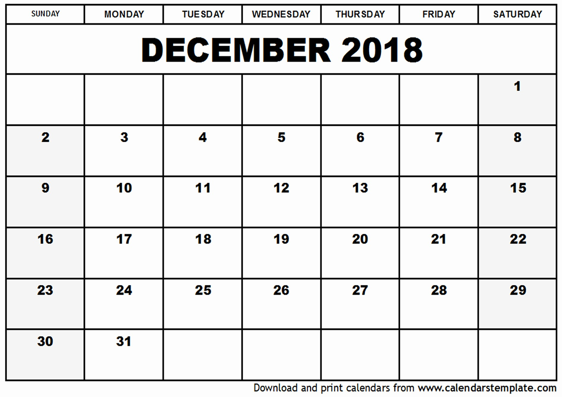 Blank Calendar Template December 2018 Lovely December 2018 Calendar Pdf