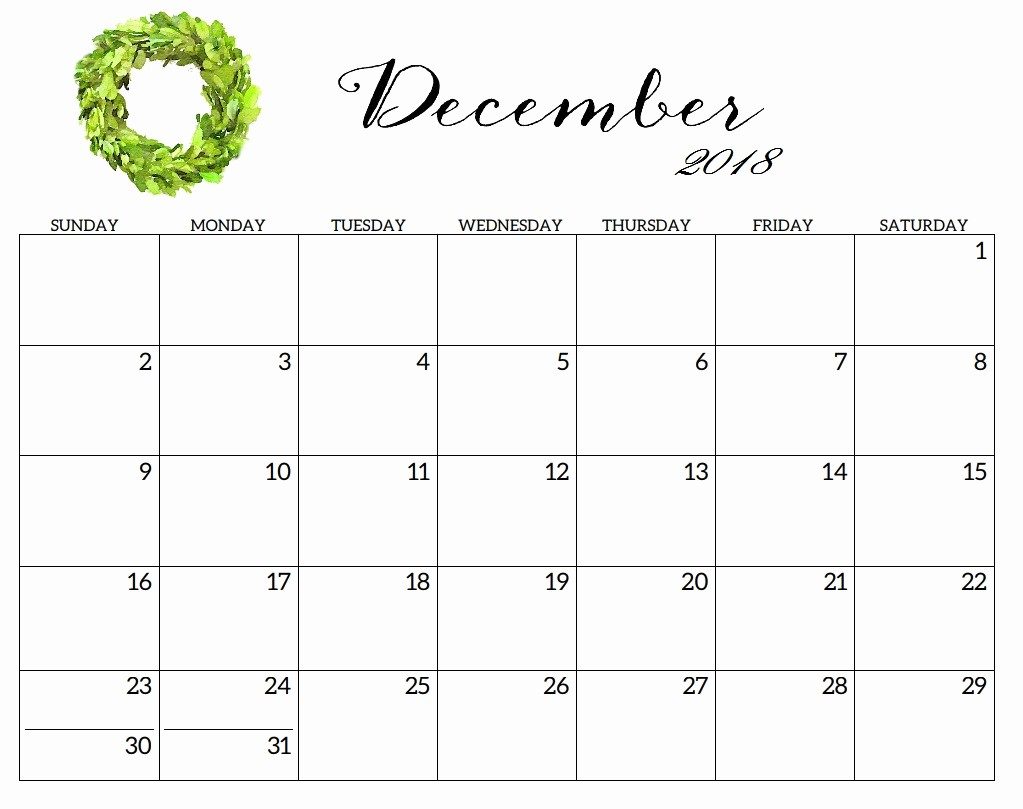 Blank Calendar Template December 2018 Lovely Printable 2018 Monthly Blank Templates