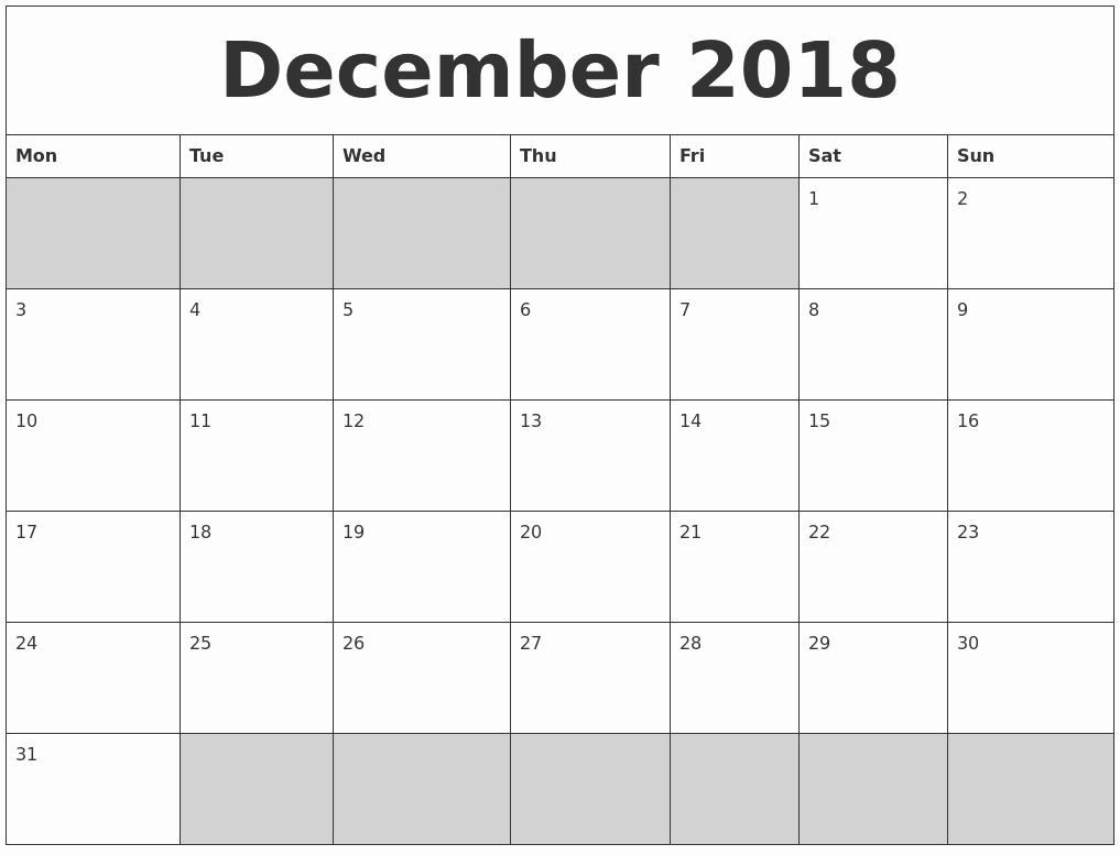 Blank Calendar Template December 2018 New December 2018 Blank Printable Calendar