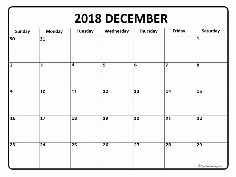 Blank Calendar Template December 2018 New December 2018 Calendar December 2018 Calendar Printable