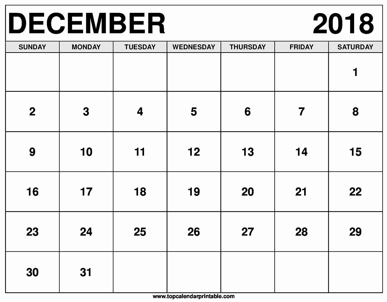 Blank Calendar Template December 2018 New December 2018 Calendar