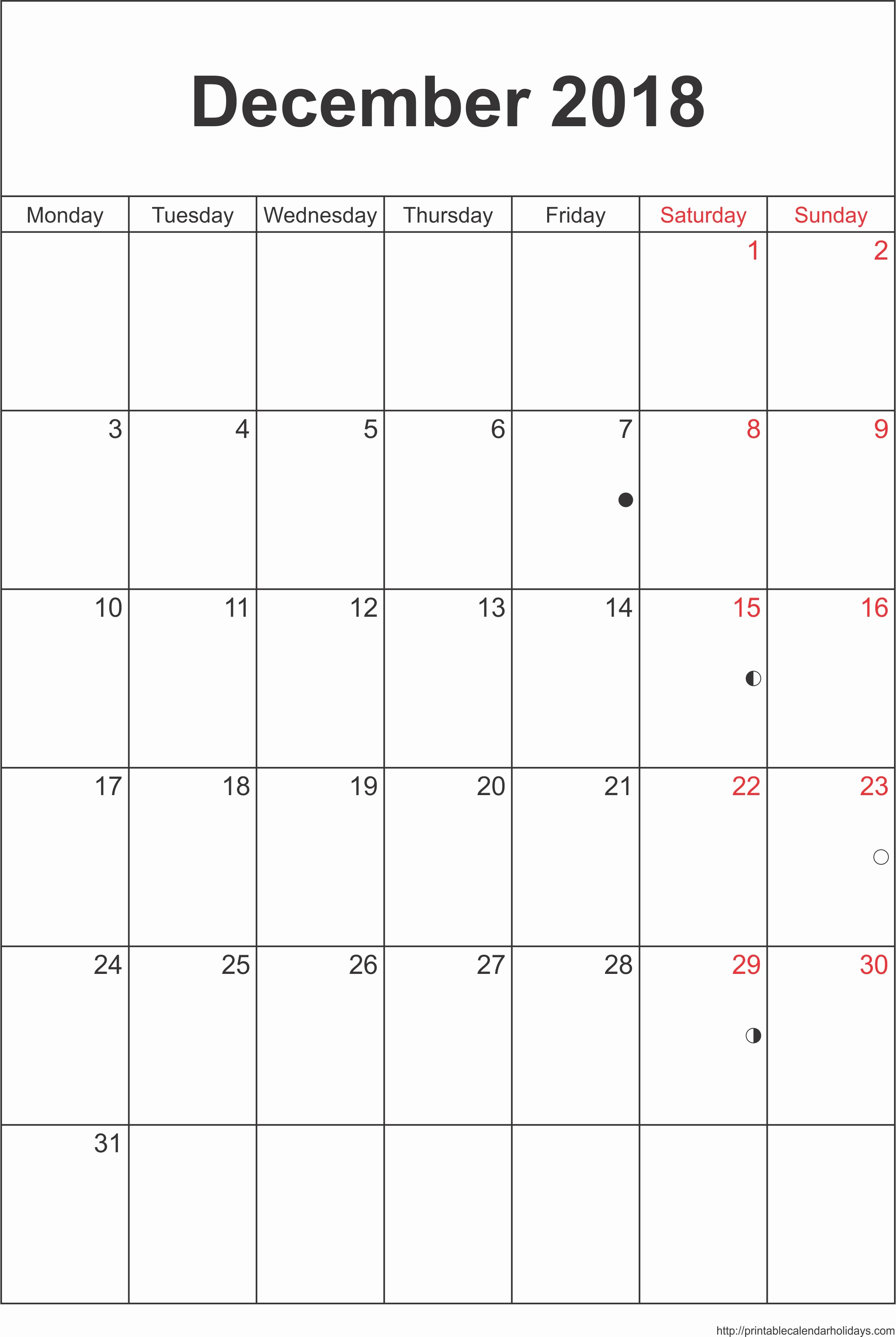 Blank Calendar Template December 2018 New December Calendar 2018 – Template Portrait Printable