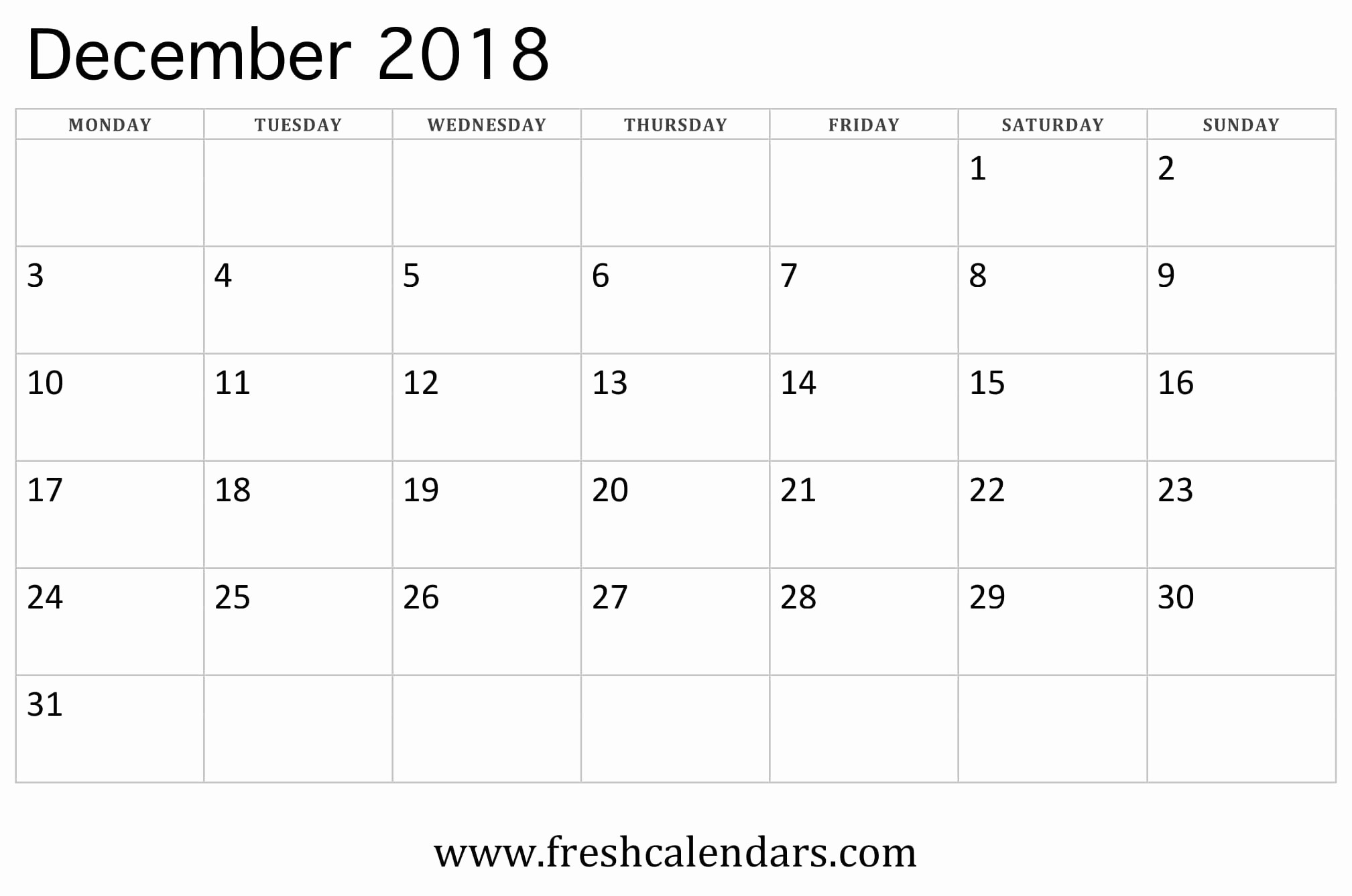 Blank Calendar Template December 2018 Unique Blank December 2018 Calendar Printable Templates
