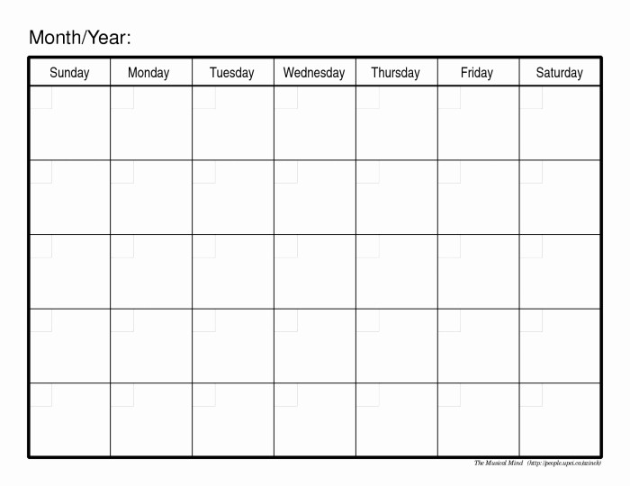 Blank Calendar to Fill In Awesome Fill In Printable Monthly Calendar