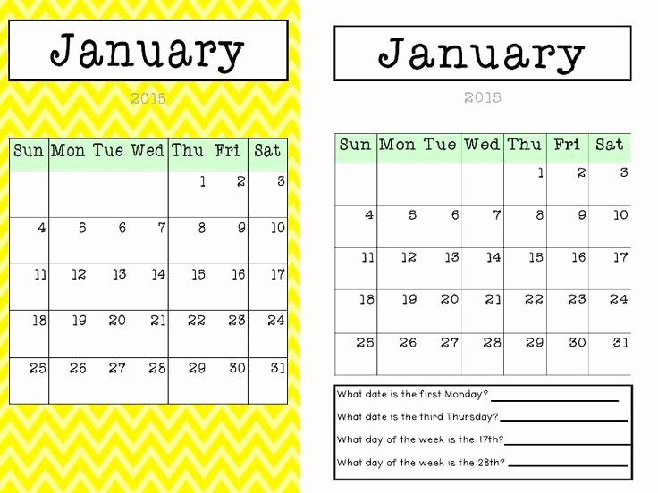 Blank Calendar to Fill In New 2015 Calendar Colourful Chevron Plain with Questions and