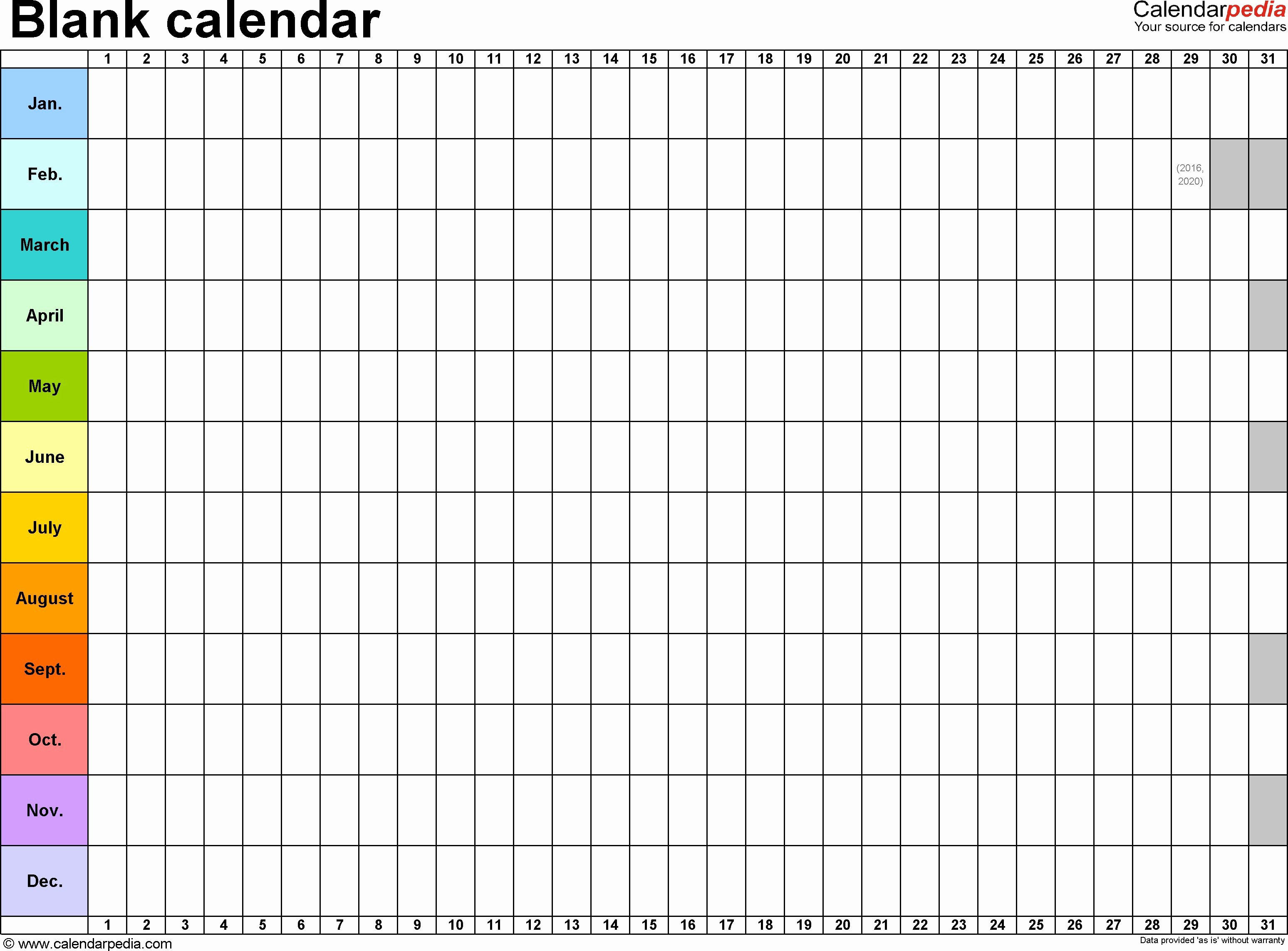 Blank Calendar to Fill In New Blank Calendar to Fill In 2016 2018 Calendar Template