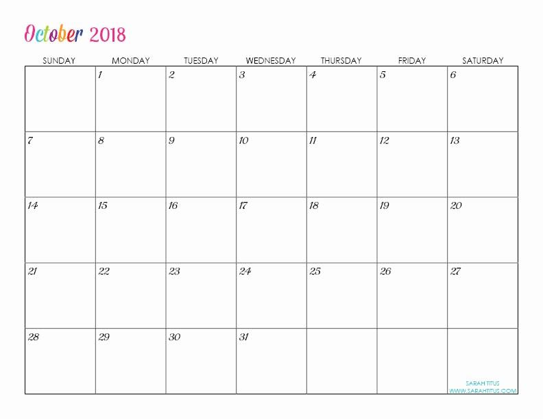 Blank Calendar to Type On Elegant Custom Editable Free Printable 2018 Calendar Sarah Titus