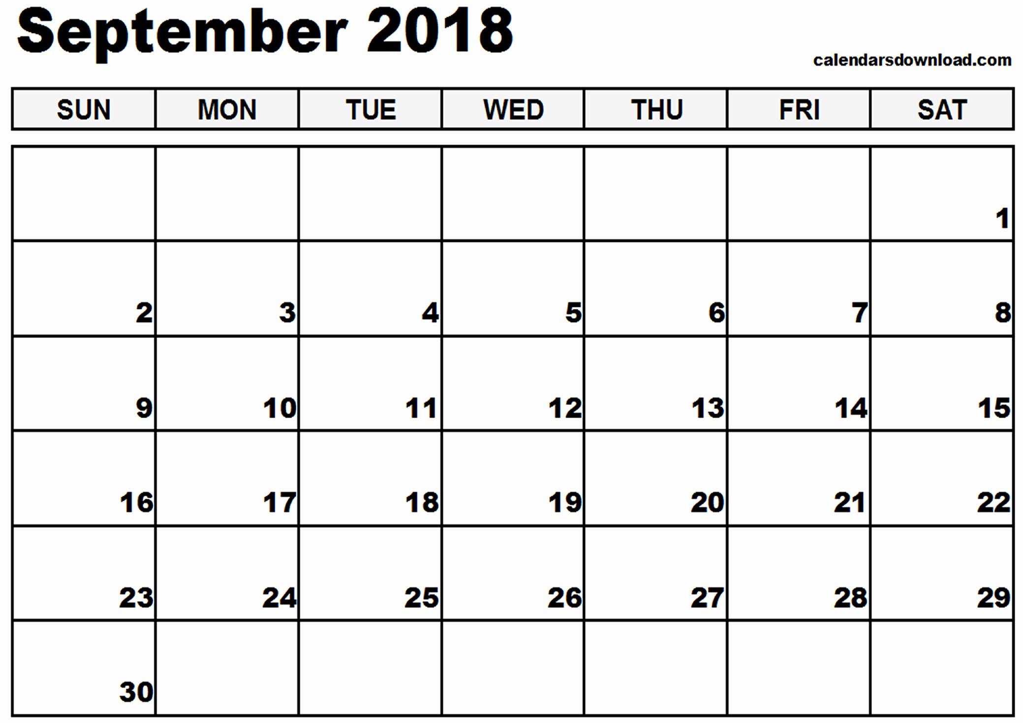 Blank Calendar to Type On Elegant September 2018 Calendar