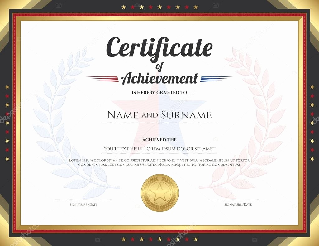 Blank Certificate Of Achievement Template Awesome Printable Word Doc Stock Illustration Certificate Of