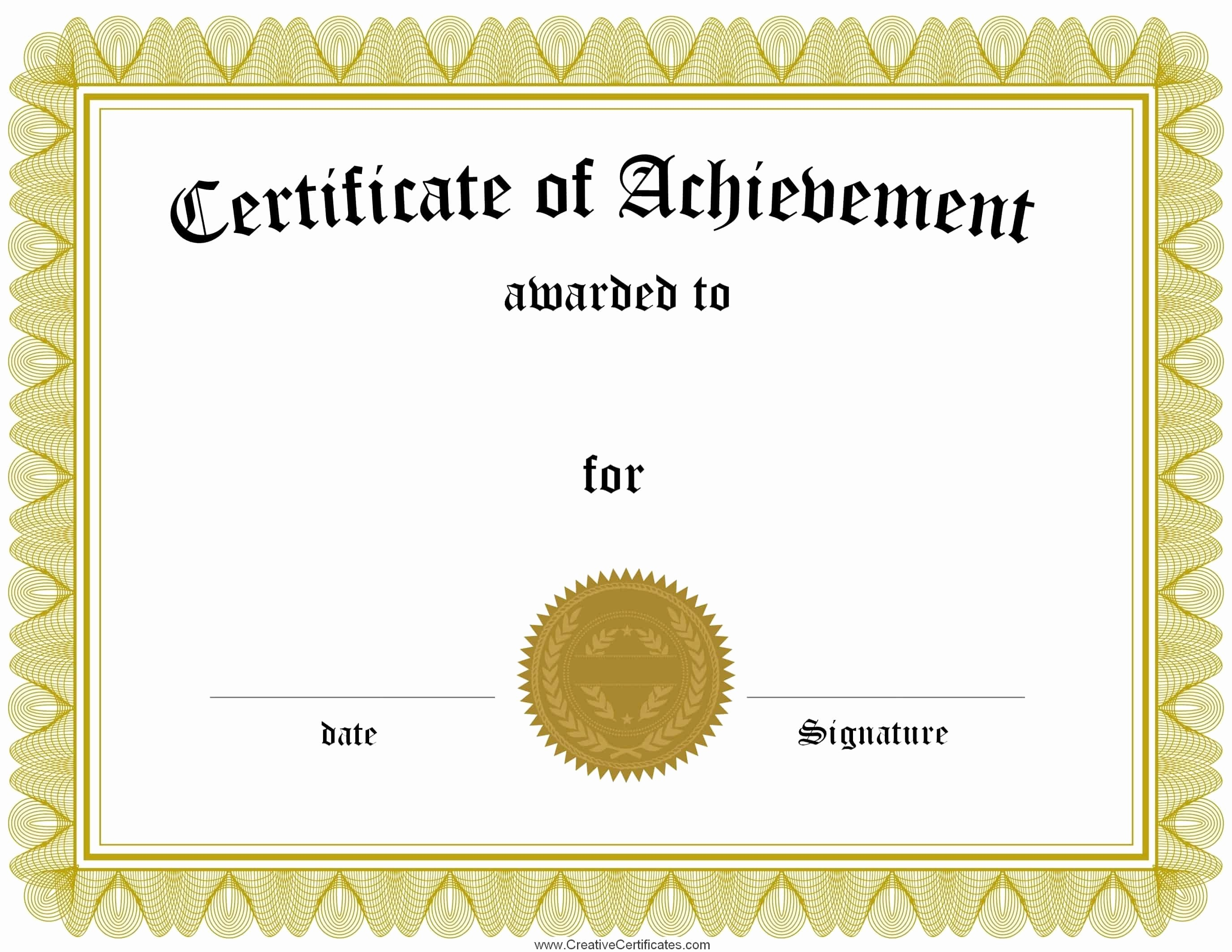 Blank Certificate Of Achievement Template Beautiful Free Customizable Certificate Of Achievement