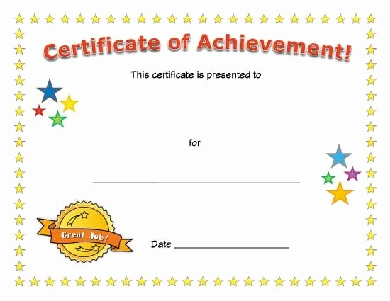 Blank Certificate Of Achievement Template Elegant Certificate Of Achievement Kids Pinterest