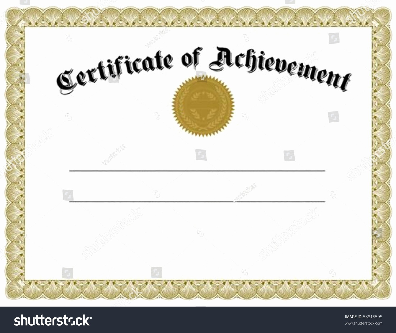Blank Certificate Of Achievement Template Elegant Printable Word Doc Stock Vector Vector Certificate