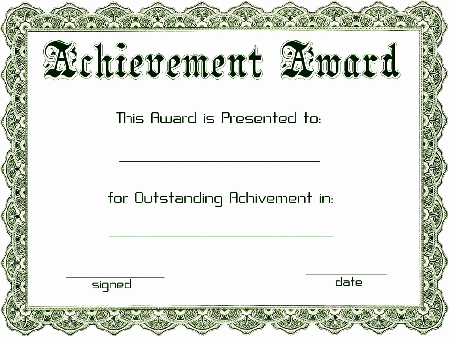 Blank Certificate Of Achievement Template Lovely Award Templates Word Example Mughals