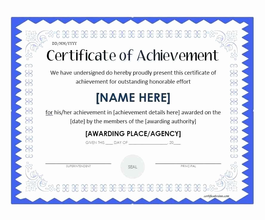 Blank Certificate Of Achievement Template Lovely C A Award Certificate Sample Text Excellence – Goeventz