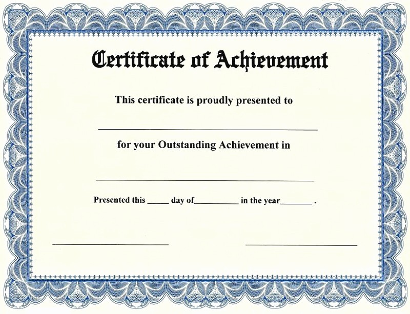 Blank Certificate Of Achievement Template New Certificate Of Achievement Templates