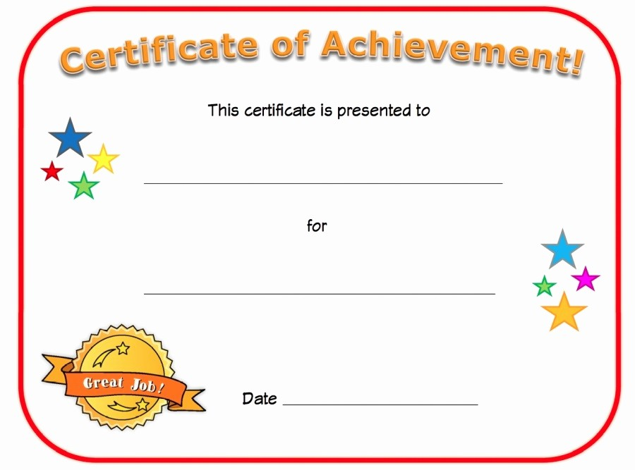 Blank Certificate Of Achievement Template Unique Certificate Of Achievement Templates