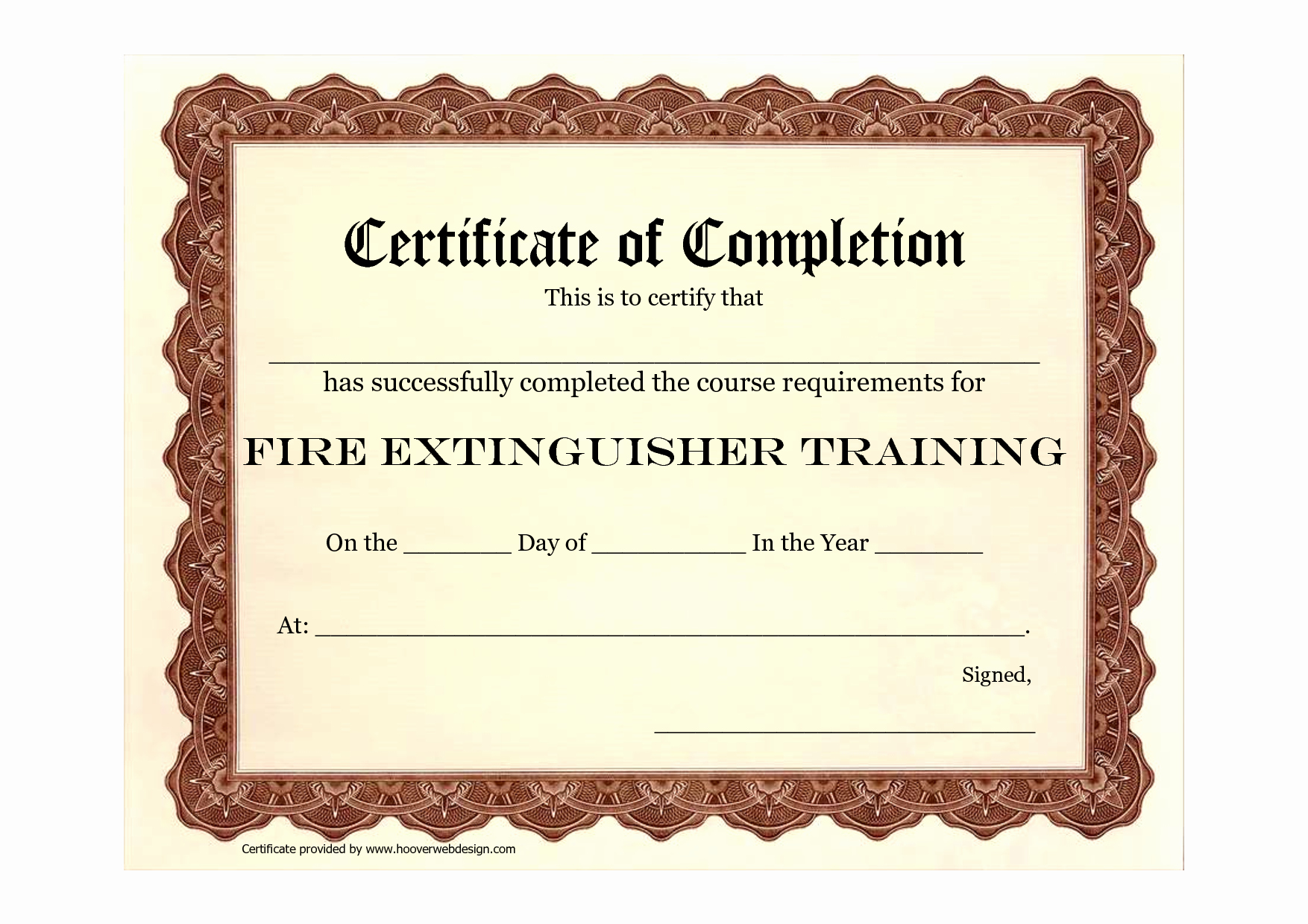 Blank Certificate Of Completion Template Beautiful 9 Best Of Safety Training Certificate Template