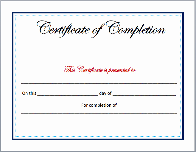 Blank Certificate Of Completion Template Best Of Pletion Certificate Template