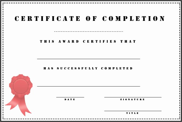 Blank Certificate Of Completion Template Elegant 38 Pletion Certificate Templates Free Word Pdf Psd