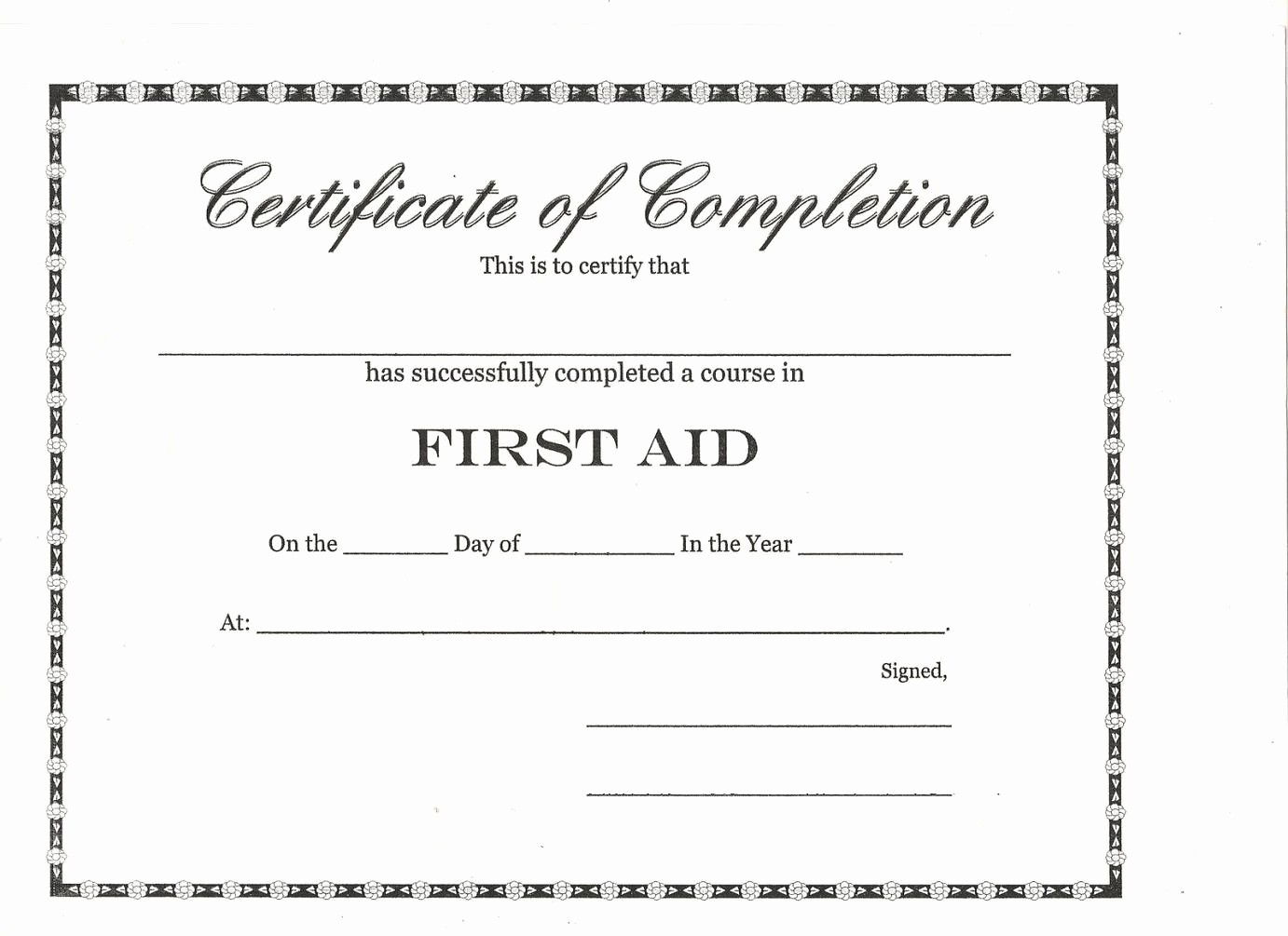 Blank Certificate Of Completion Template Fresh Best S Of Training Pletion Template Course