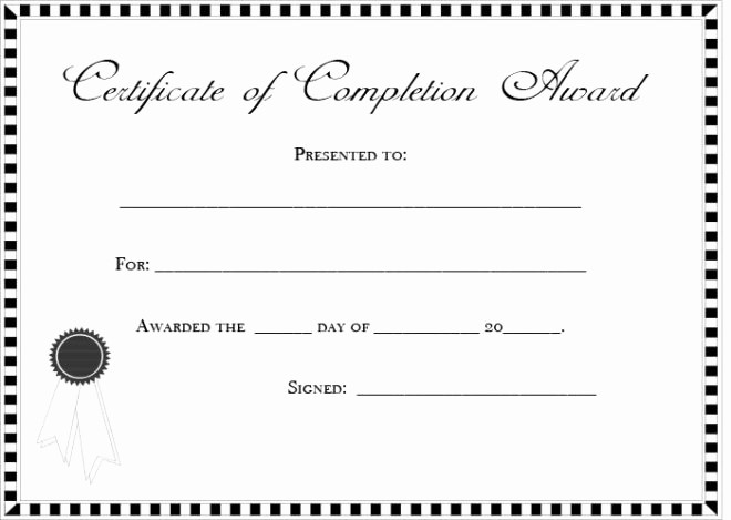 Blank Certificate Of Completion Template Fresh Blank and Editable Certificate Pletion Template